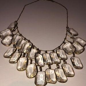 Anthropologie Glass & Gold Bib Necklace